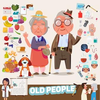Par de personas mayores con conjunto de iconos.
