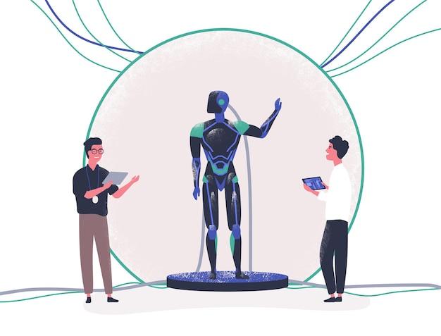 Par de personas de pie al lado de android y controlarlo con tablet pc. presentación de robot antropomórfico moderno, avance tecnológico. ilustración de vector colorido en estilo de dibujos animados plana.