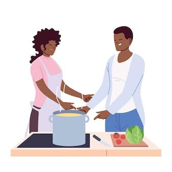 Par de personas preparando sopa en blanco