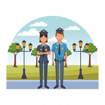 Par de policias avatares