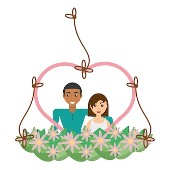 Par precioso corazón marco flores decorativas