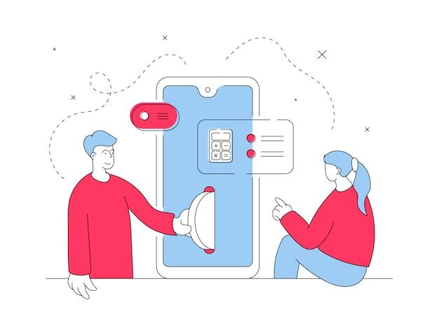 Par realizar operaciones financieras en smartphone. ilustración de línea