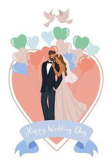 Un par de recién casados, globos, corazón y palomas.