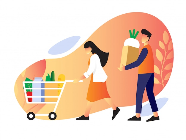 Un par de tiendas en la tienda de comestibles para una vida saludable