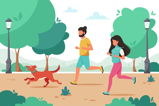 Par trotar con perro en el parque. actividad al aire libre