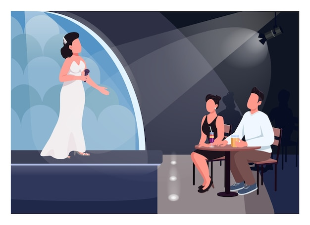 Par ver rendimiento color plano. cantante en el escenario. el hombre y la mujer se sientan a la mesa y escuchan música en vivo. amantes de personajes de dibujos animados en 2d con sala de conciertos en el fondo