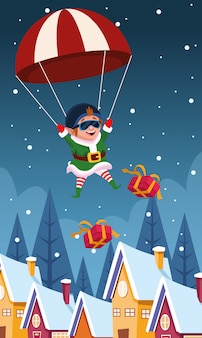 Paracaídas con ayudante de santa y cajas de regalo cayendo sobre casas y noche de invierno, colorido, ilustración