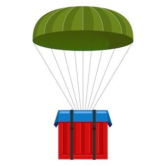 Paracaídas con una carga. juego en linea. caja de llamada con suministros