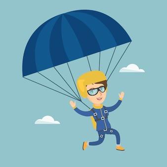 Paracaidista caucásico joven volando con un paracaídas.