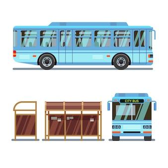 Parada de autobús y autobús urbano