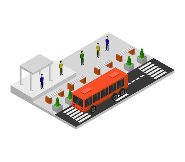 Parada de autobús isométrica