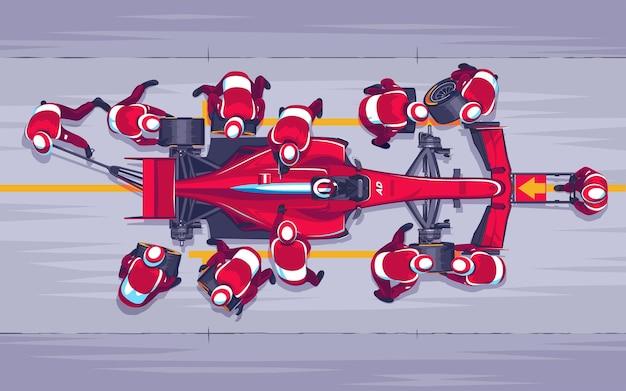 Parada en boxes en carreras. reemplazo de ruedas en la carrera.