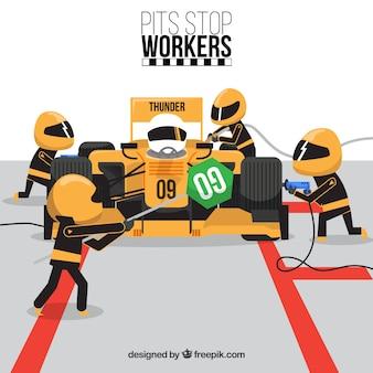 Parada en boxes de trabajadores de fórmula 1
