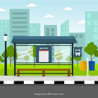 Parada de autobús vacía con diseño plano