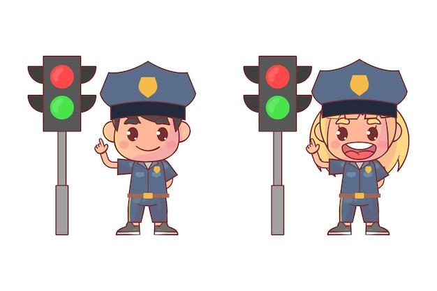 Parada de la policía al lado de la lámpara de tráfico