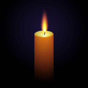 Parafina realista quema vela aislada en negro