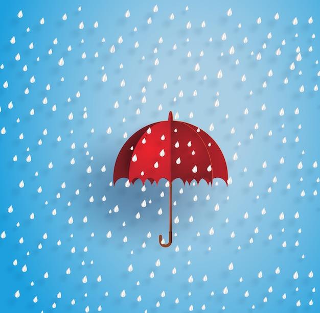 Paraguas en el aire con lluvia.