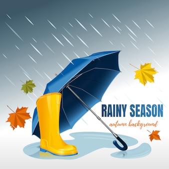 Paraguas azul y botas de goma amarillas. fondo de otoño. temporada de lluvias.