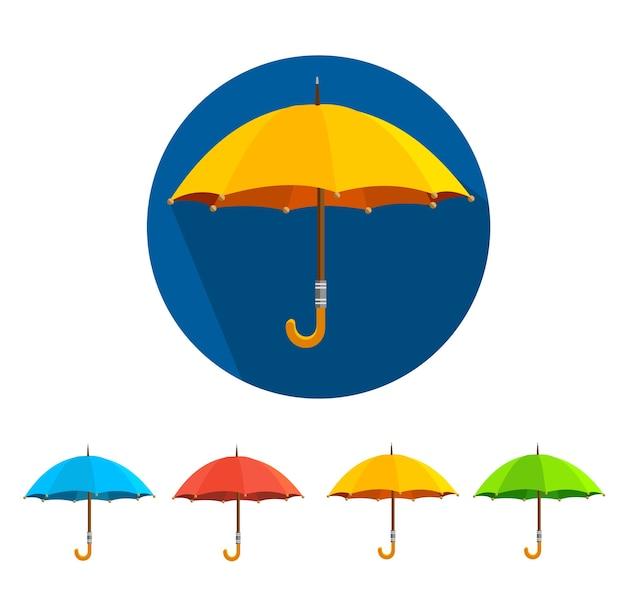 Paraguas de colores conjunto aislado sobre fondo blanco.