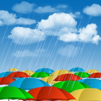 Paraguas de colores bajo la lluvia. ilustración vectorial