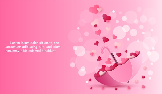 Paraguas y corazón en fondo de color rosa.
