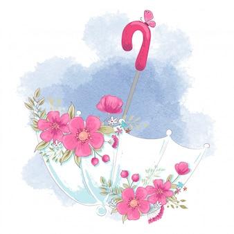 Paraguas de dibujos animados lindo con flores.