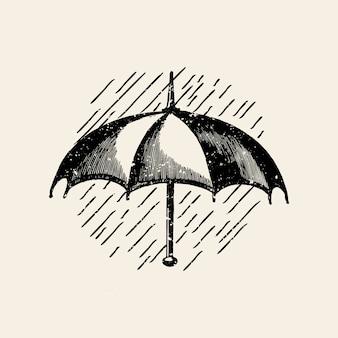 Paraguas en el vector de la insignia de lluvia