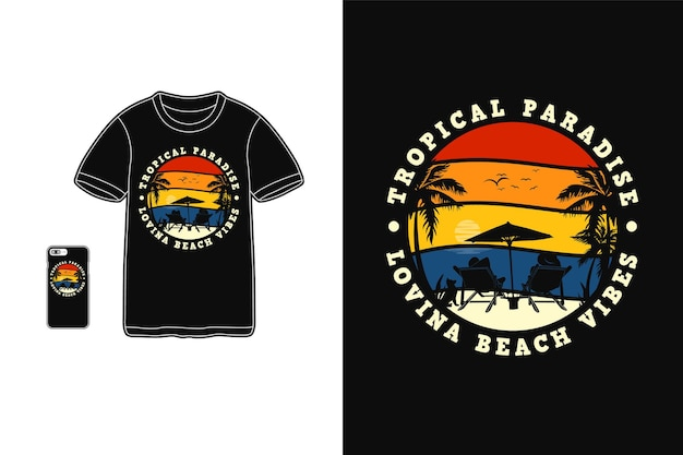 Paraíso tropical, estilo retro de silueta de diseño de camiseta