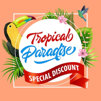 Paraíso tropical, folleto de descuento especial con flores de color rosa, cinta roja, hojas y tropical