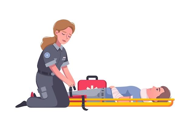 Paramédico femenino con botiquín de primeros auxilios ayudando al hombre herido después de un accidente de dibujos animados
