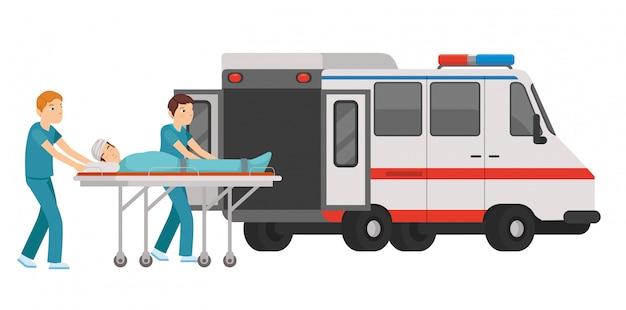 Paramédico ingrese al paciente en la ambulancia