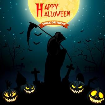 Parca de halloween sosteniendo guadaña con calabazas