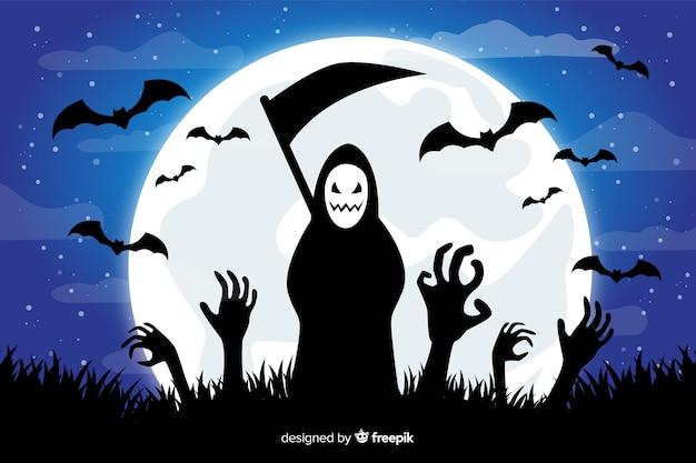 Parca y murciélagos sobre fondo de luna llena