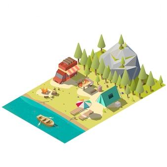 Parcela de camping en parque nacional isométrico.