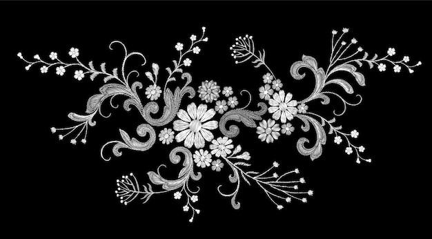 Parche de moda realista vector bordado blanco