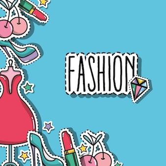 Parches de moda diseño de fondo de moda