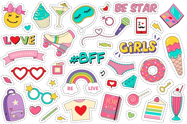 Parches de moda doodle set. colección de divertidas chicas cómicas adolescentes moda adolescentes kawaii pegatinas helado donut diario gemas aisladas en blanco.