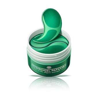 Parches para los ojos en tarro de cosméticos. parches de hidrogel para el cuidado de la piel. mascarilla antiarrugas de colágeno.