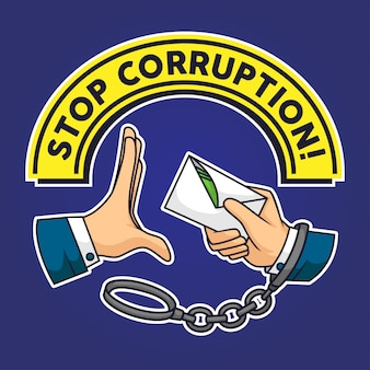 Pare la muestra de la mano de la corrupción