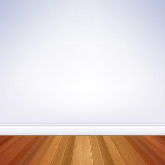 Pared blanca de la habitación vacía realista y piso de madera con plantilla de zócalo. interior de la casa.