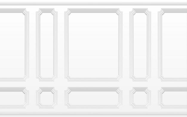 Pared blanca con marcos de moldura. interior clásico con paneles de moldura.