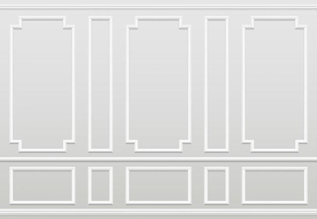 Pared blanca vacía moldura de paneles de decoración del hogar clásico. interior de vector de sala de estar