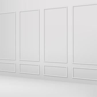 Pared interior blanca clásica. vector.