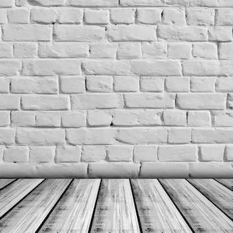 Pared de ladrillo con base de madera