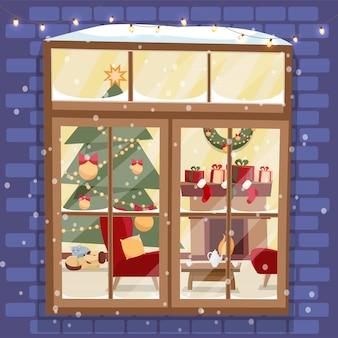Pared de ladrillo exterior con ventana: árbol de navidad, muebles, corona, chimenea, pila de regalos y mascotas. acogedora sala de luz decorada festivamente fuera de vista vector de dibujos animados plana