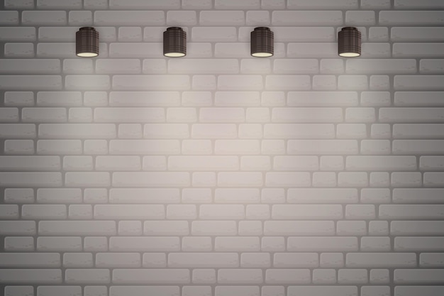 Pared de ladrillo con fondo de luces puntuales