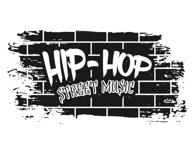 Pared de ladrillo de graffiti con ilustración de vector de música de calle hip-hop de texto en estilo monocromo vintage aislado sobre fondo blanco