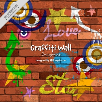 Pared de ladrillos con grafitis