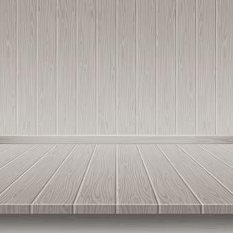 Pared y piso de madera gris.