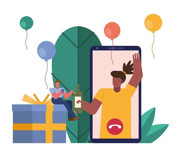 Pareja abriendo regalos en personajes de smartphone escena diseño ilustración vectorial